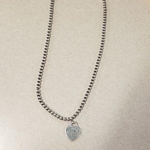 Tiffany Small Heart Tag Beaded Necklace
